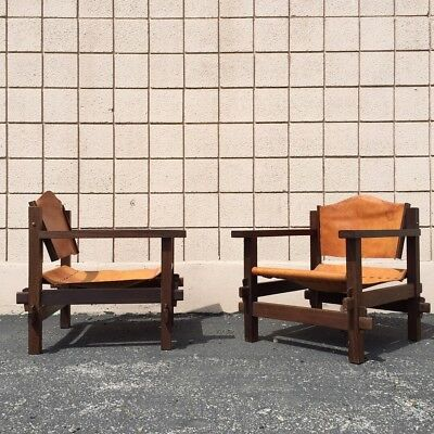 Pair of Vintage Mid Century Modern Sling Lounge Chairs