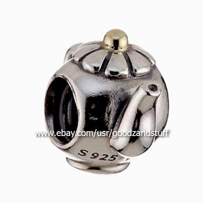 Teapot Authentic Pandora Sterling Silver Charm Two Tone with 14K #790250