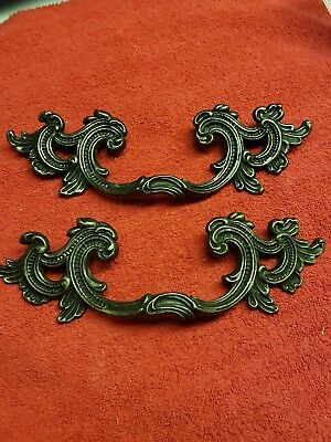 "(2) 7"" Vintage Style Drawer Pulls Victorian French Provincial Zinc 3.5"" holes"