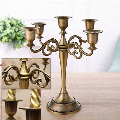 Vintage Wedding Xmas Metal Crafts Candelabra Alloy 3/5 Arms Candle Holder Stand