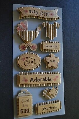 10 BABY GIRL KRAFT STICKERS Scrapbooking Embellishment DIY Tag Card Making Craft