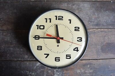 """Vintage Simplex School Clock with Curved Glass Front Metal Casing 13"""" Diameter"""