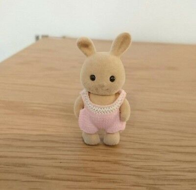Vintage Sylvanian Families 1985 Calico Critters Bent Ears Rabbit Baby Initial