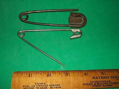 Vintage Large Pair Brass (?) Safety Pins Horse Blanket (?)