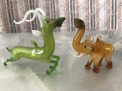 Old Vintage Christmas Tree Decorations Hand Blown Glass Bauble Reindeer Elephant