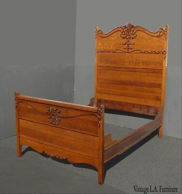 Antique French Country Oak Wood Bed Frame Full Headboard w Scrolled Onlays