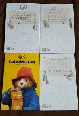 Beatrix Potter 2016 2017 2018 Coin Album folder collecting pack & Paddington 50p