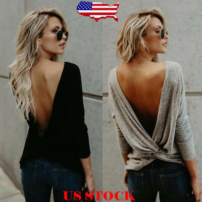 US Women's Long Sleeve Twisted Open Back Loose Tops Casual Shirt Blouse S-XL