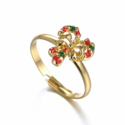 Fashion Christmas Tree Crystal Adjustable Finger Rings Woman Jewelry Party Gift