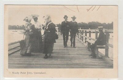 VINTAGE POSTCARD     WOODY POINT JETTY QUEENSLAND  1900s