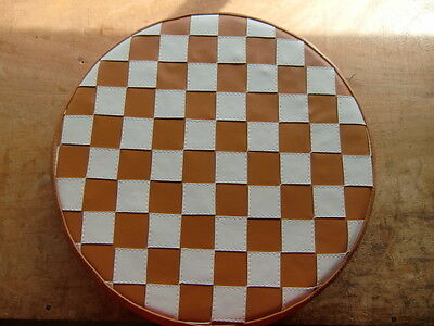 Tan White Check Scooter Wheel Cover