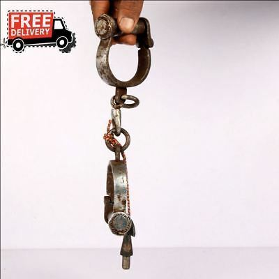 1930's Old Vintage Iron Lock Unique Handcrafted Handcuff Lock Collectible 8828
