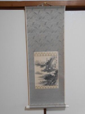 "JAPANESE HANGING SCROLL ""Temples and Landscape"" @en16"