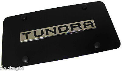 Toyota Tundra Name Chrome Black Front License Plate Stainless Steel TRD Novelty