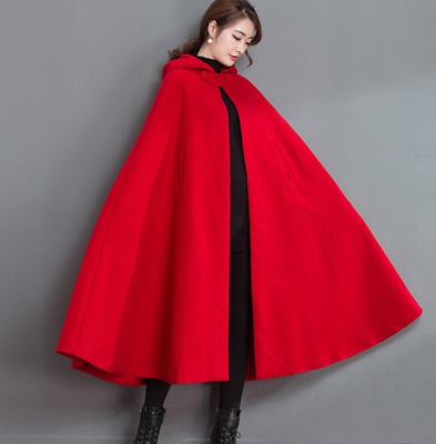 d7b5b081ea802 Womens Red Cape Hooded Maxi Holiday Wool Blend Loose Casual Coats Warm  Vintage