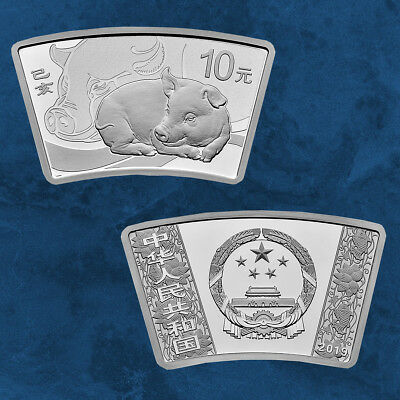China - Lunar: Year of the Pig - 10 Yuan 2019 Pf Silver - 30 Gram Fan Shaped