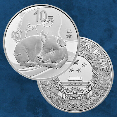 China - Lunar: Year of the Pig - 10 Yuan 2019 Pf Silver - 30 Gram Round