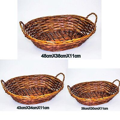 2 X Willow Basket Oval with Handle Cane Basket Brown Honey Colour Storage