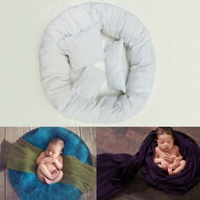 4PCS Newborn Baby Photography Pillow Basket Filler Wheat Donut Posing Props PQ
