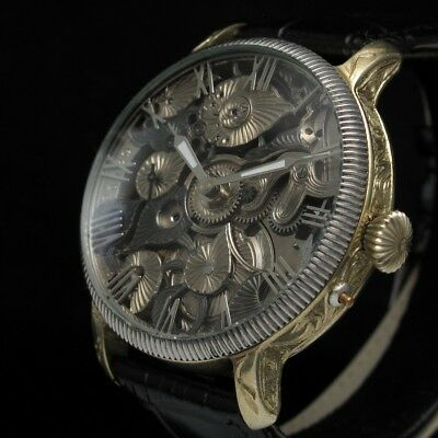 GLASHUTTE Vintage Mens Wristwatch Skeleton Mechanical German Men's Wrist Watch