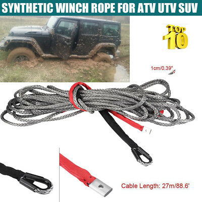27m*10mm Nylon Synthetic Winch Rope Line Cable 20500 LBS for SUV ATV UTV Truck