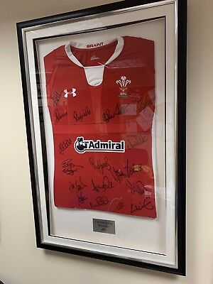 Signed Wales Rugby Shirt, Grand Slam Winners 2012, Framed