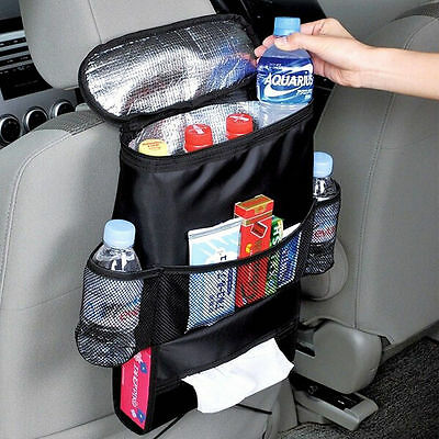 Car Back Seat Organizer Tidy Hot/Cold Insulated Cooler Bag Tissue Drink Holder