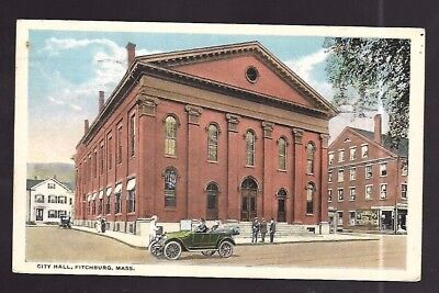 Vintage Postcard City Hall Fitchburg Massachusetts Old Car