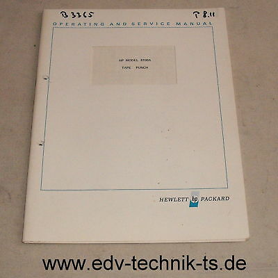 Operating and Service Manual for Tape Punch HP 8100A / 8100