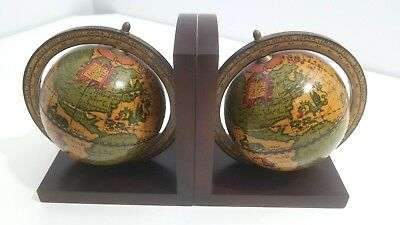 Vintage Old World Spinning Globe Bookends Office Library Decor Made in Italy