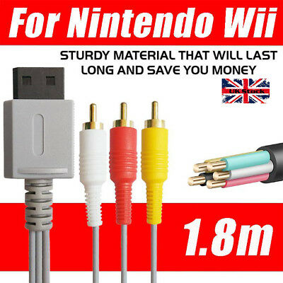 1.8m Audio Video AV Composite 3RCA Cable TV Lead Wire For Nintendo Wii Game