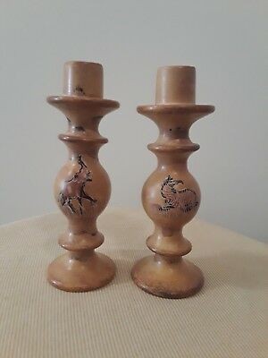 Vintage Painted Candlestick Holders