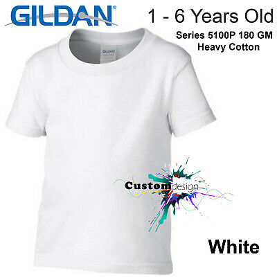 Gildan White T-SHIRT Blank Plain Tee Baby Toddler Youth Kids Boy Girl Cotton