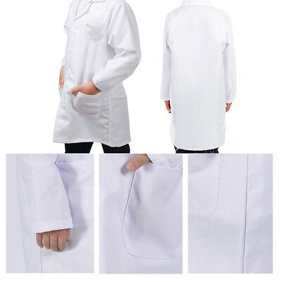 Kids White Lab Coat Doctor Scientist School Fancy Analog Classroom Uniform Child