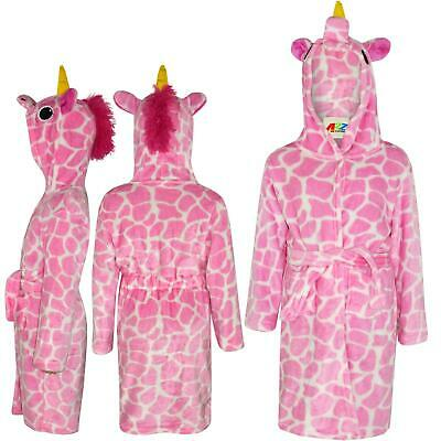 Kids Girls Bathrobe 3D Animal Giraffe Pink Fleece Dressing Gown Night Loungewear