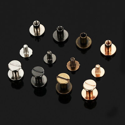 Flat Belt Screw 5/6.5/8mm Leather Craft Chicago Nail Brass Solid Rivet Stud Head