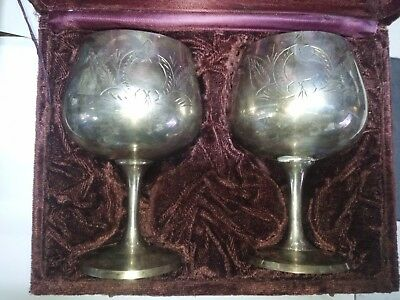 Pair Of Antique Silver Plated Goblets On Original Box
