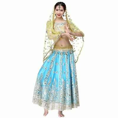 Women Belly Dance Costume Set Hand Embroidered Indian Style Top Belt Sari Skirt