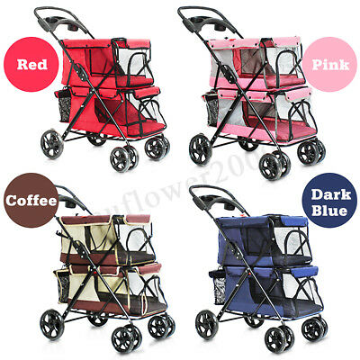 Pet Stroller Cat Dog 4 Wheel Jog Folding Travel Walk Breathable Carrier