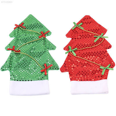 963B Bling Shiny Christmas Tree Shape Wine Bottle Cover Decorations Red Green