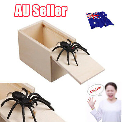 Wooden Prank Spider Scare Box Hidden in Case Trick Play Joke Gag Toys Gifts DM