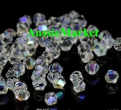 50 x bicone loose beads crystal glass prism faceted 8mm clear ab colour jewelry