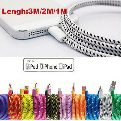 1/2/3M Braided Lightning Sync Data Cable USB Charger 4 iphone 5 5c SE 6 6S Plus