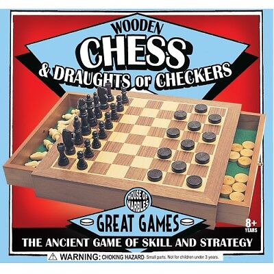 Quality Wooden chess AND draughts set with a drawer House of Marbles