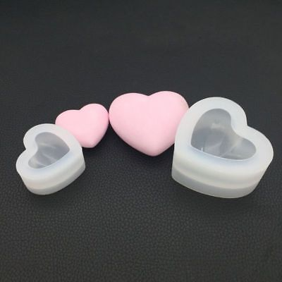 Silicone Mold Mirror Heart Shape 3D Smooth Crafts DIY Making Epoxy Resin Molds