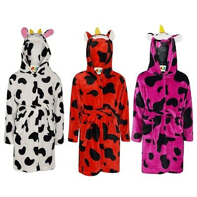 Kids Girls Boys 3D Animal Cow Bathrobe Fleece Dressing Gown Nightwear Loungewear
