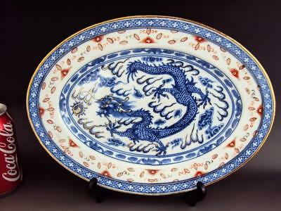30CM STUNNING Chinese Antique Porcelain Oriental Blue White Dragon Charger Plate
