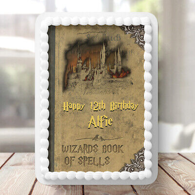 Harry Potter Spell Book PERSONALISED MESSAGE EDIBLE Icing Cake TOPPERS Rectangle