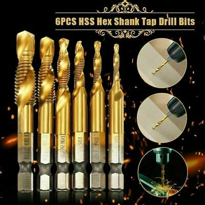 6PCS Hex Shank Titanium Plated Screw Thread Drill Bits Set Compound Tap M3-M10