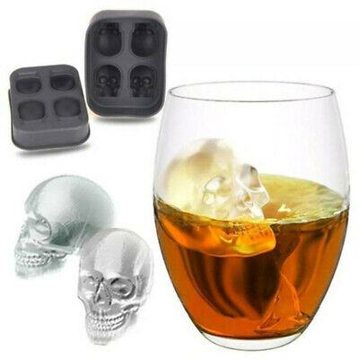 3D Skull Shape Bar Party Silicone Ice Cube Chocolate Maker Mold Trays 4-Cavity